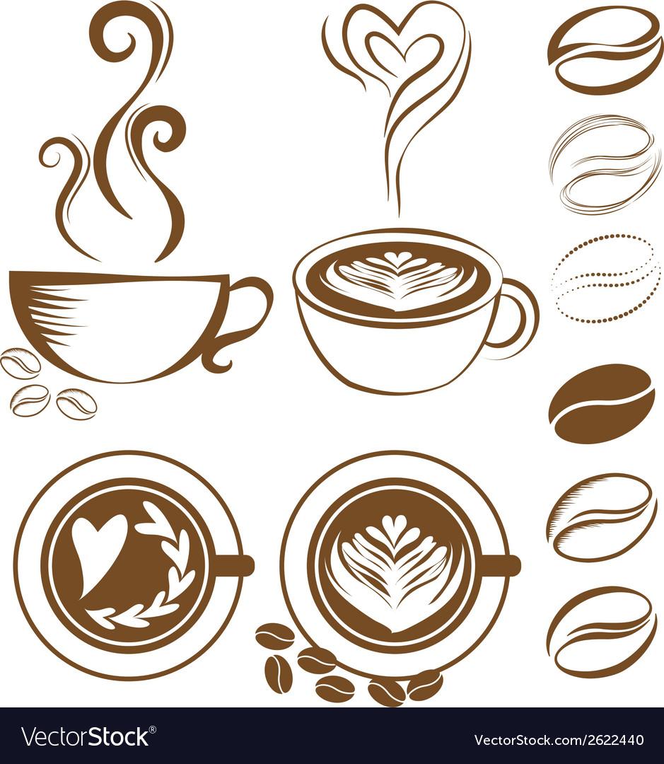 Coffee cup set vector | Price: 1 Credit (USD $1)