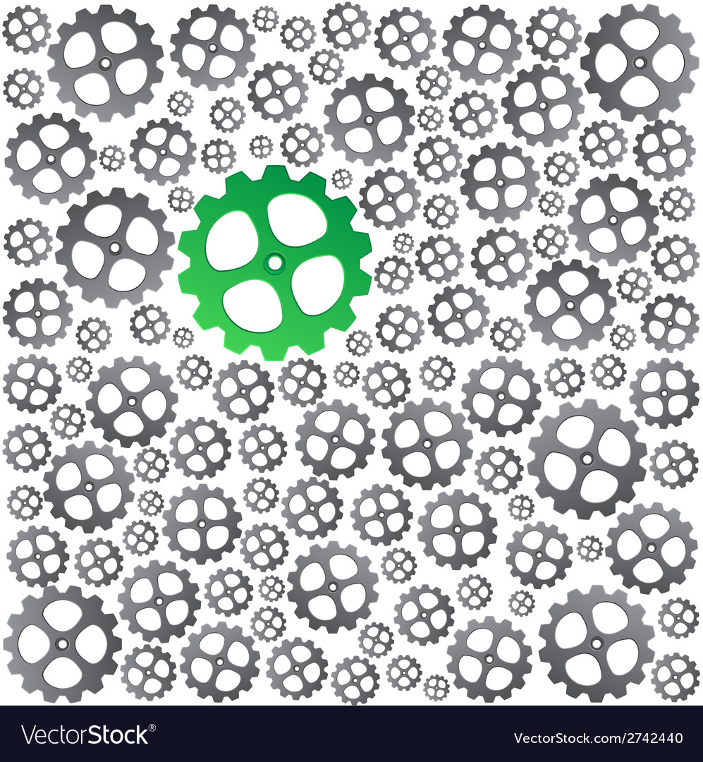 Green near gray gears background vector | Price: 1 Credit (USD $1)