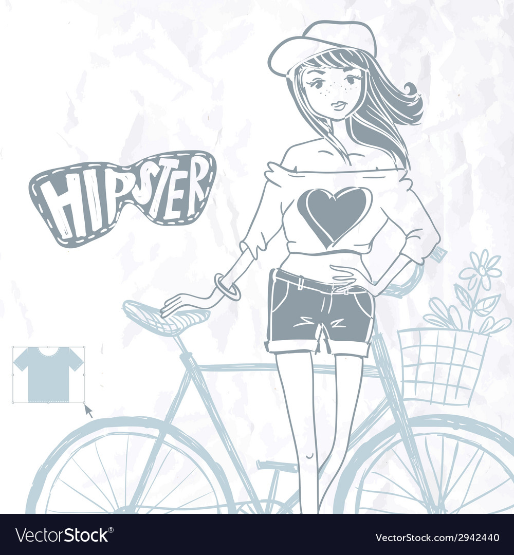 Hipster teenage girl on her vintage bike vector   Price: 1 Credit (USD $1)