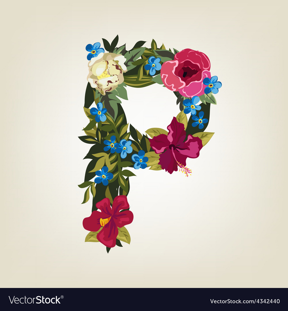 P letter flower capital alphabet colorful font vector | Price: 1 Credit (USD $1)