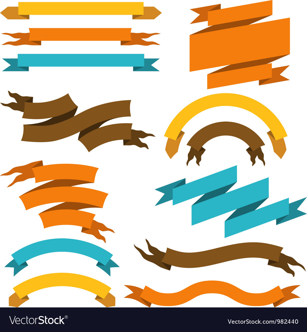 Retro ribbons labels set vector | Price: 1 Credit (USD $1)