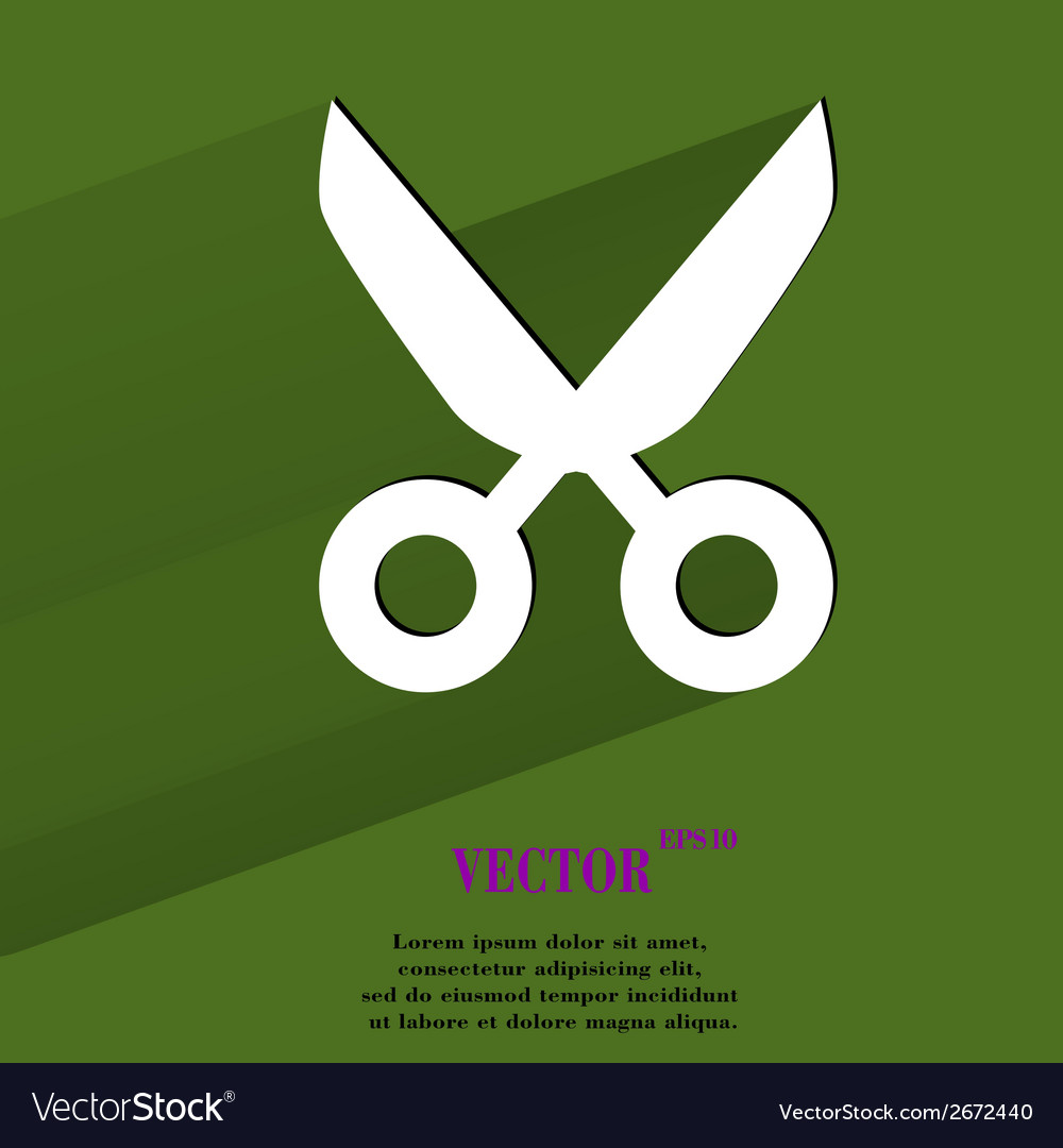Scissors flat modern web button with long shadow vector | Price: 1 Credit (USD $1)