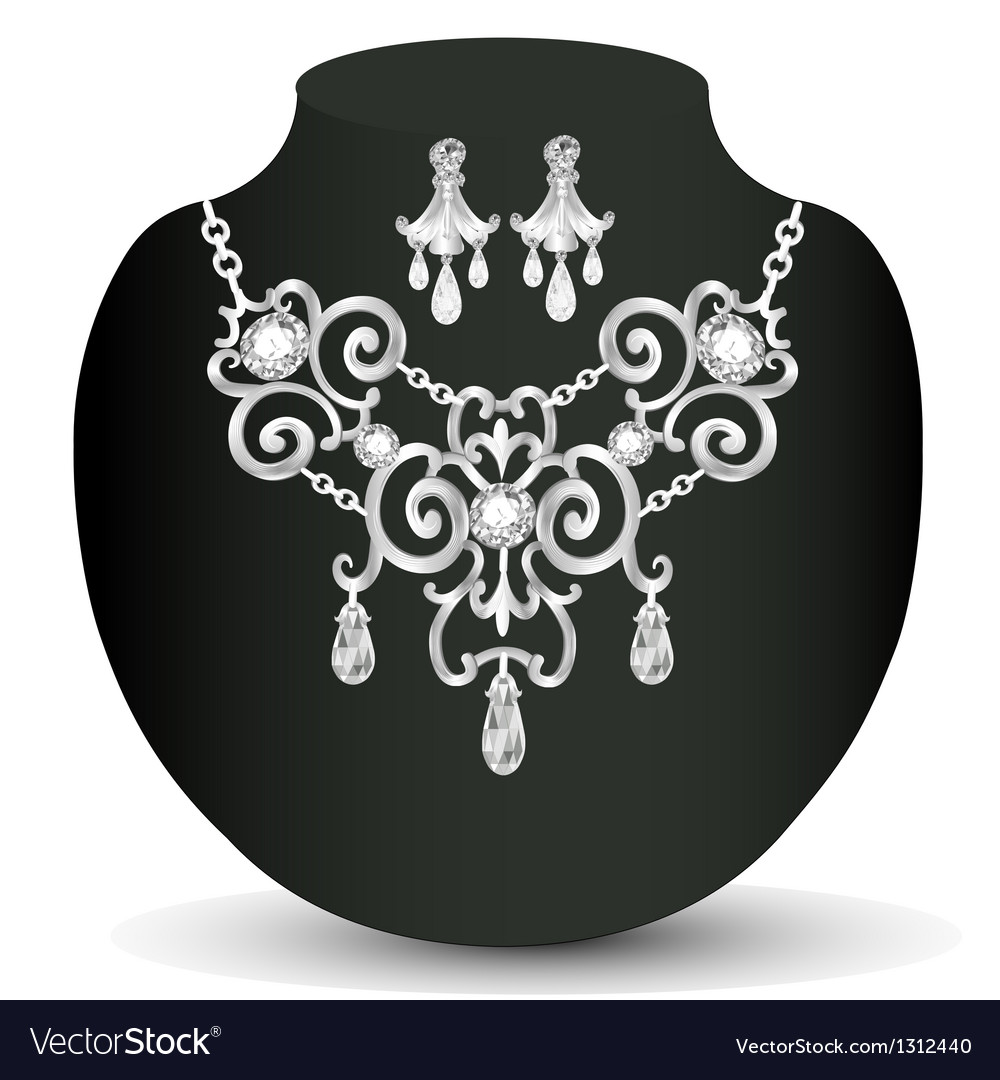 Wedding necklace and earrings with white precious vector | Price: 1 Credit (USD $1)