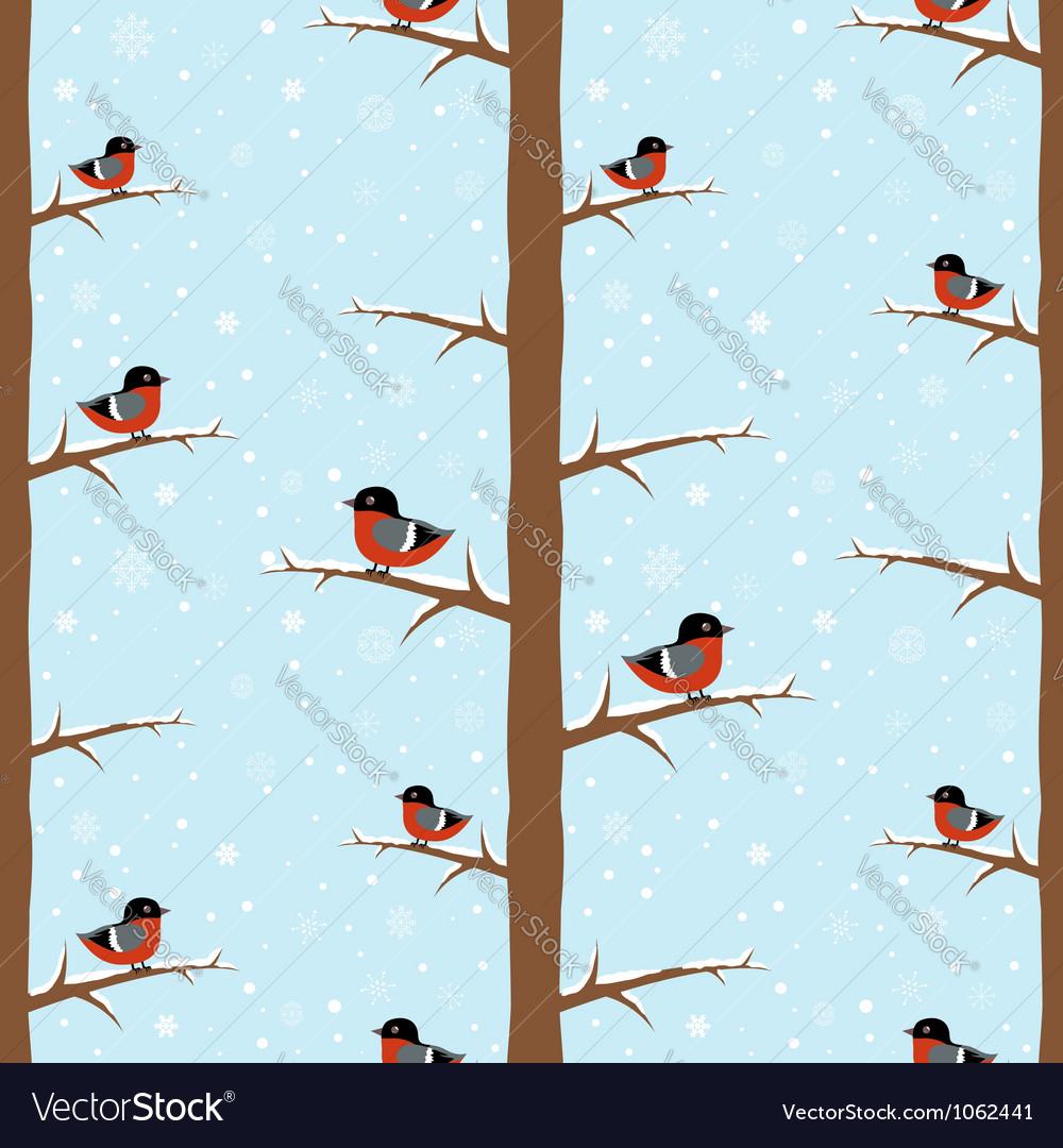Cute winter bullfinch bird seamless pattern vector | Price: 1 Credit (USD $1)