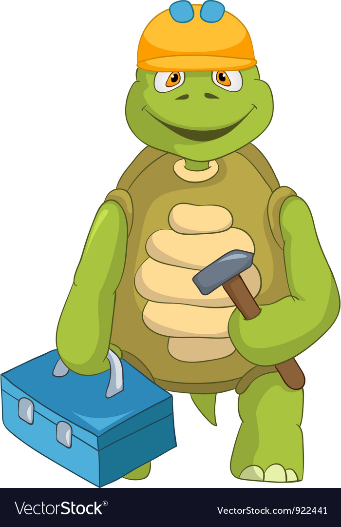 Funny turtle contractor vector | Price: 1 Credit (USD $1)