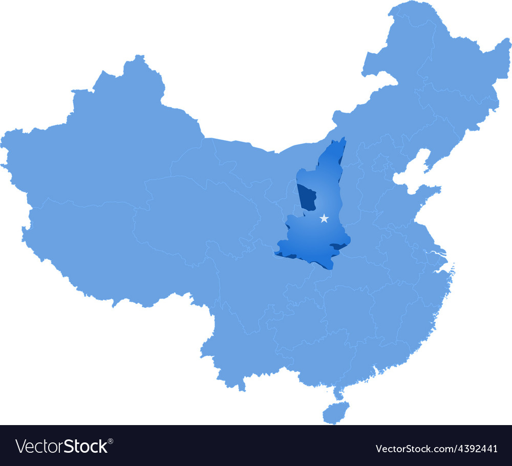 Map of peoples republic of china - shaanxi vector | Price: 1 Credit (USD $1)