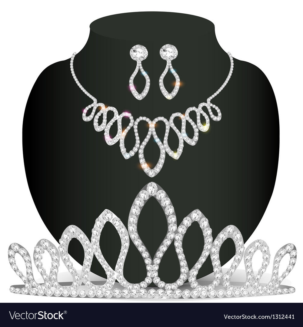 Necklace diadem and earrings with white precious s vector | Price: 1 Credit (USD $1)