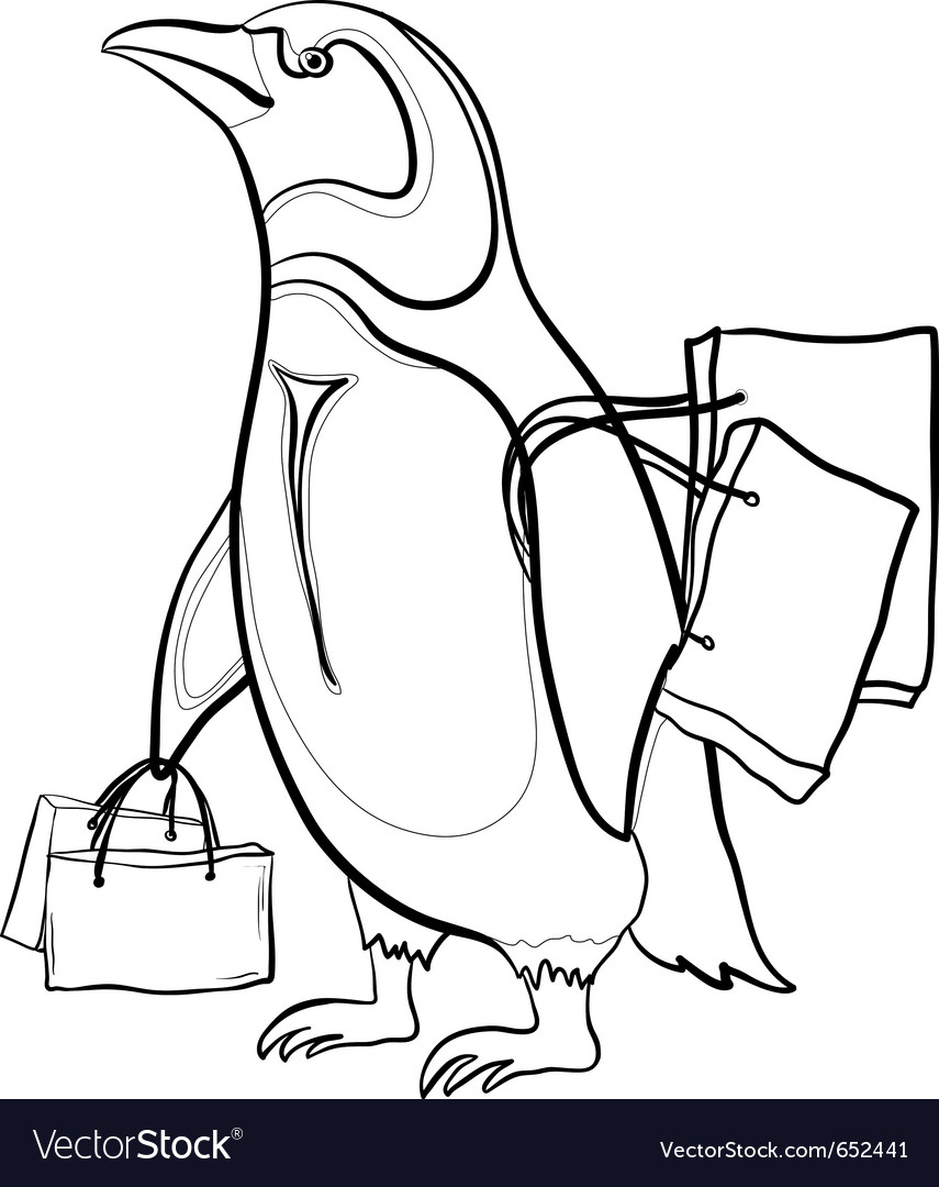 Penguin with bags contours vector | Price: 1 Credit (USD $1)