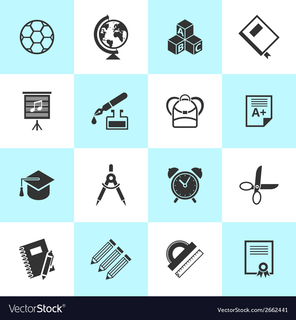 Set of school and education icons vector | Price: 1 Credit (USD $1)