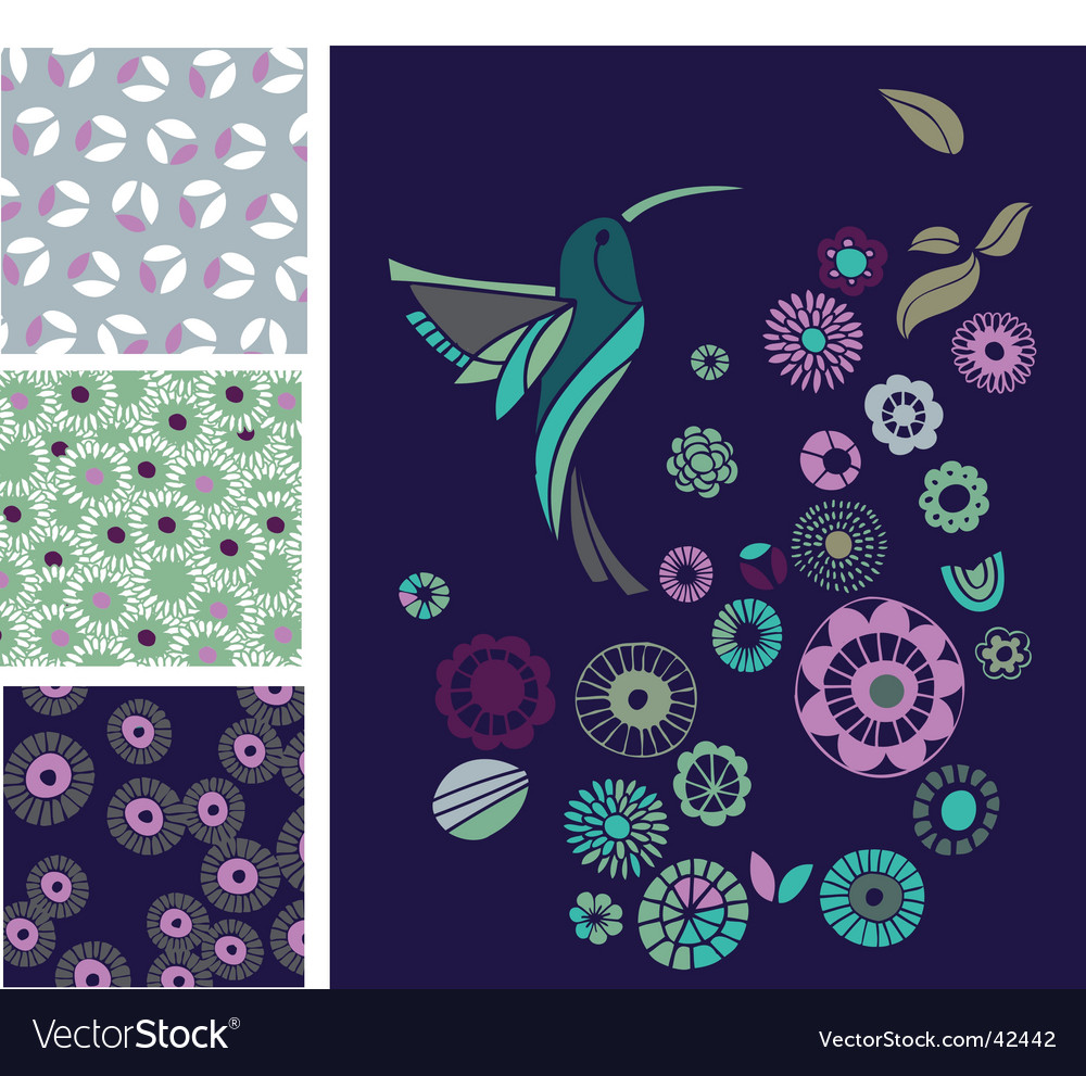 Bird and abstract flower elements vector | Price: 1 Credit (USD $1)