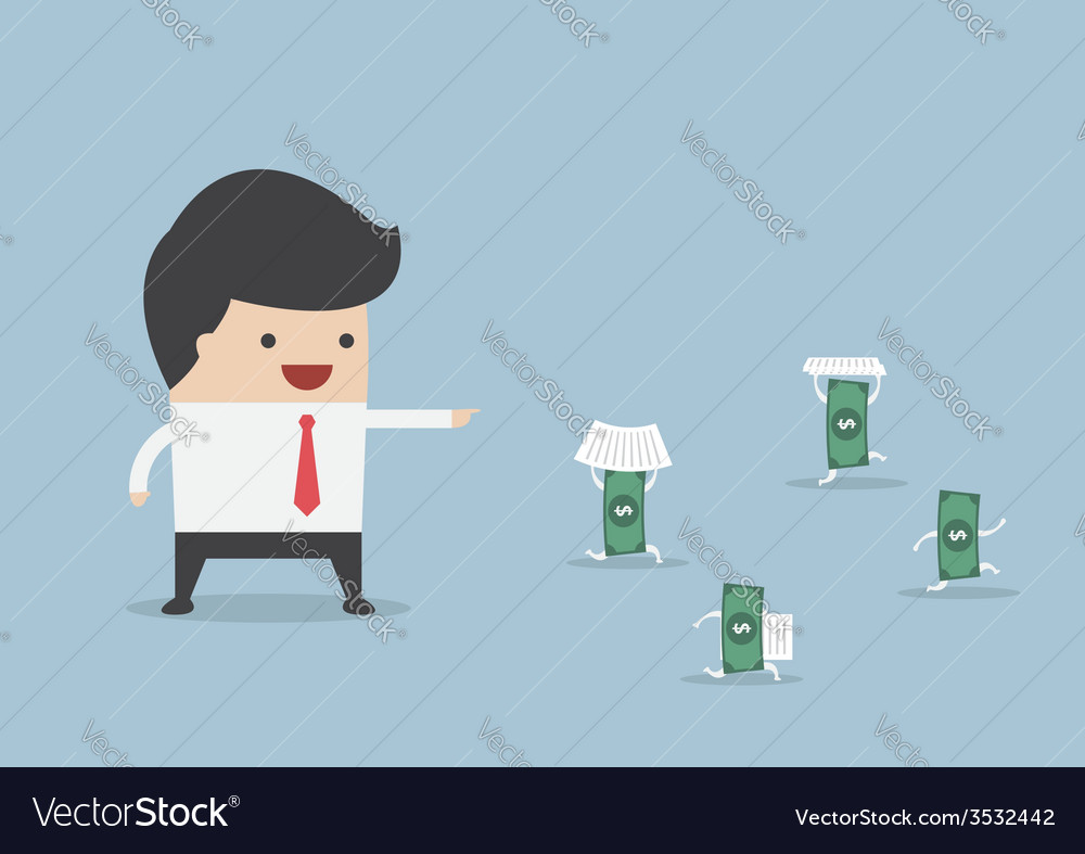 Businessman order money to do work instead him vector | Price: 1 Credit (USD $1)