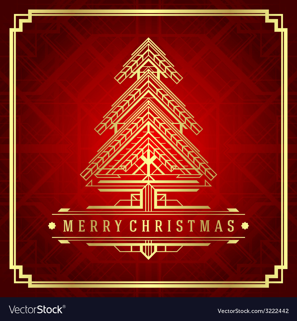 Christmas tree art deco style vector | Price: 1 Credit (USD $1)