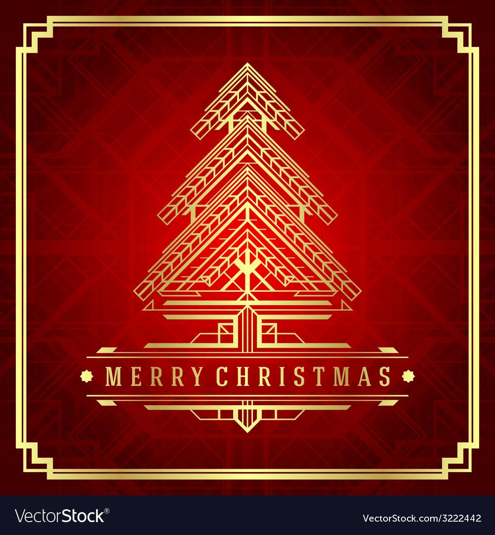 Christmas tree art deco style vector | Price: 1 Credit (USD $1)