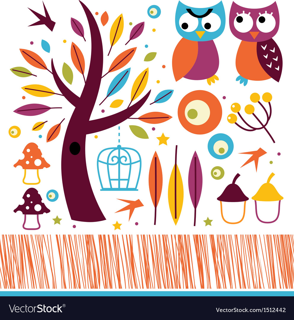 Cute autumn owls and design elements vector | Price: 3 Credit (USD $3)