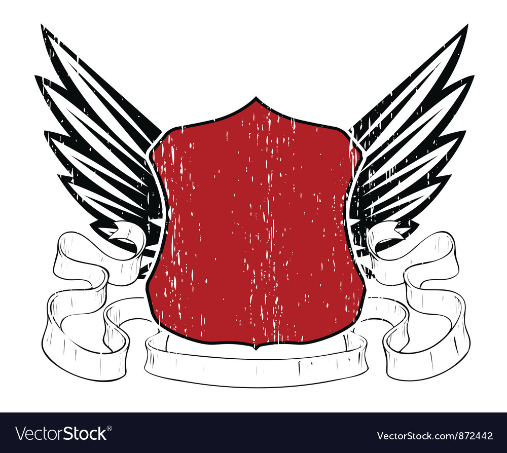 Emblem with shield and wings vector | Price: 1 Credit (USD $1)