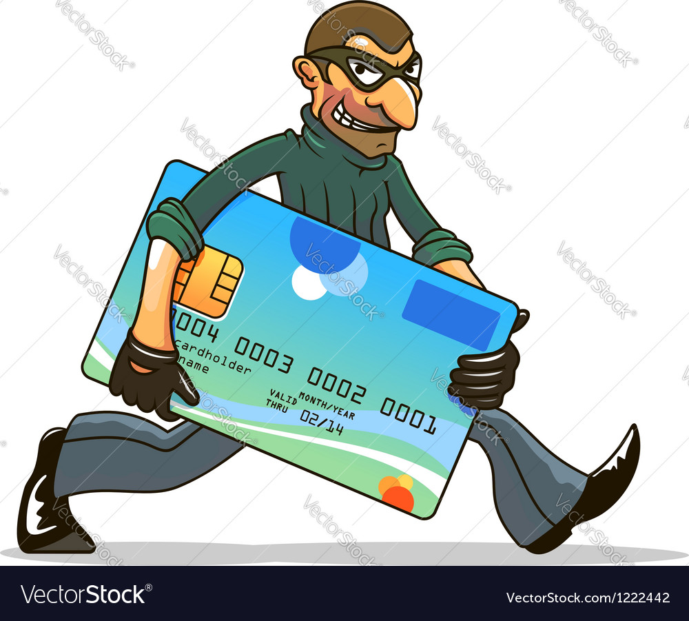 Hacker or thief stealing credit card vector | Price: 5 Credit (USD $5)
