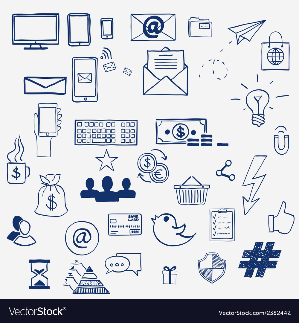 Hand draw social media sign and symbol doodles vector | Price: 1 Credit (USD $1)