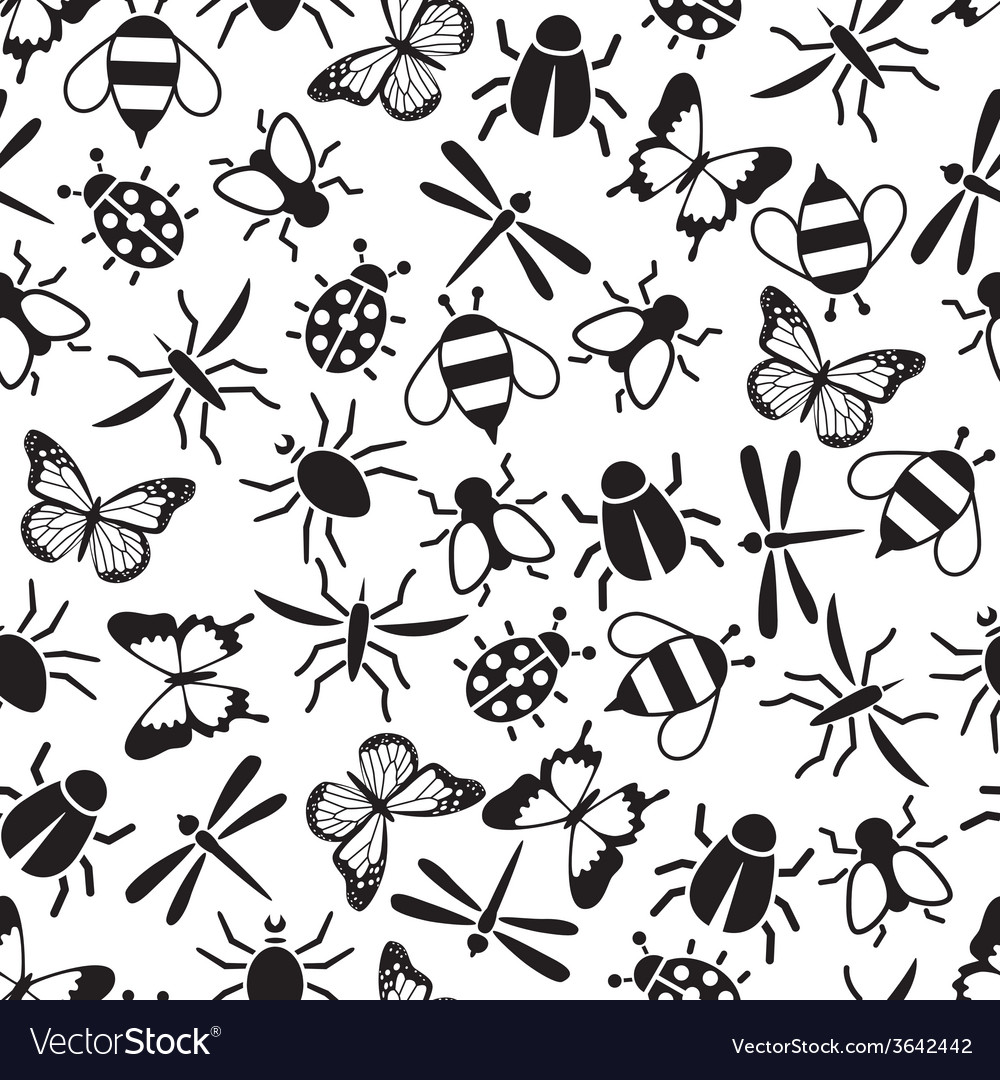 Insect seamless pattern vector | Price: 1 Credit (USD $1)