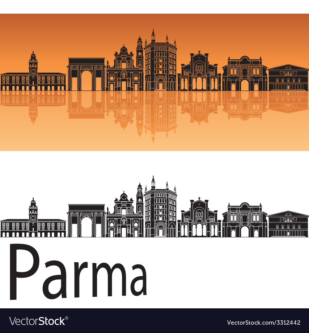 Parma skyline in orange background vector | Price: 1 Credit (USD $1)