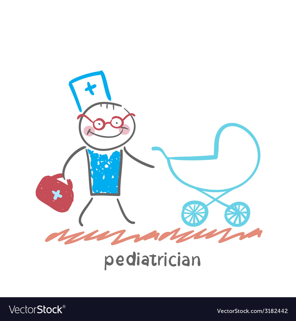 Pediatrician came to a sick child in a stroller vector | Price: 1 Credit (USD $1)