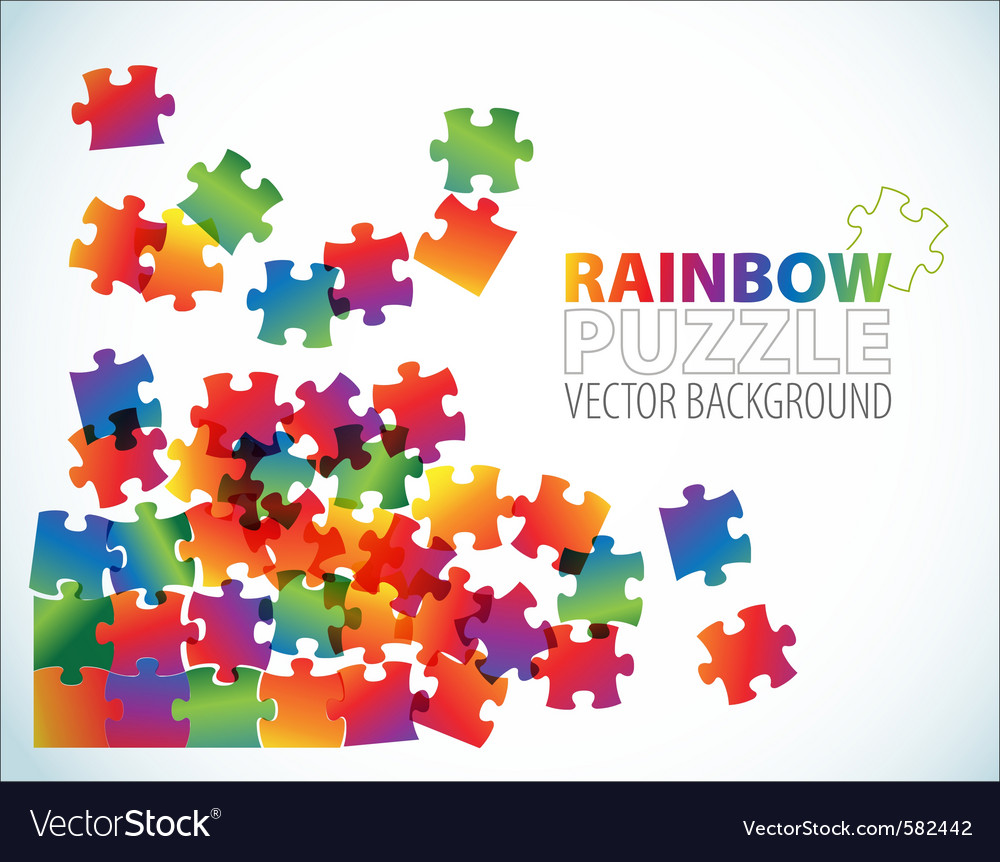 Rainbow puzzle background vector | Price: 1 Credit (USD $1)