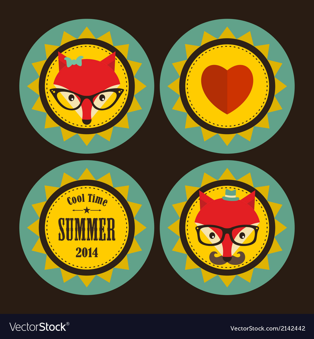 Set of sunny labels with hipster fox and heart vector | Price: 1 Credit (USD $1)