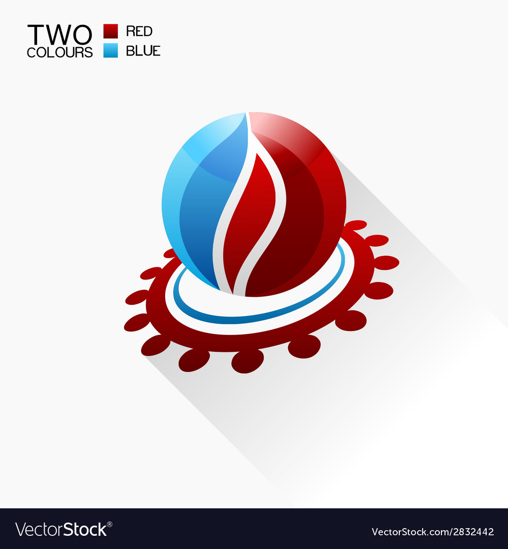 Symbol fire red and blue round glass icon with vector | Price: 1 Credit (USD $1)