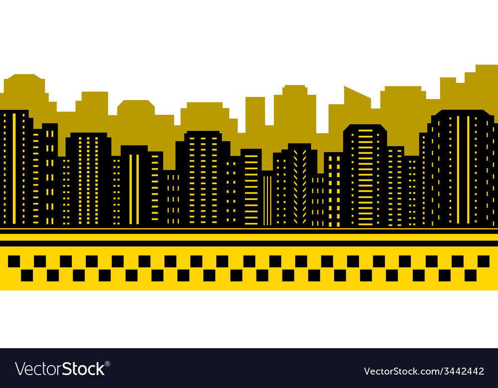 Taxi background with urban landscape vector | Price: 1 Credit (USD $1)