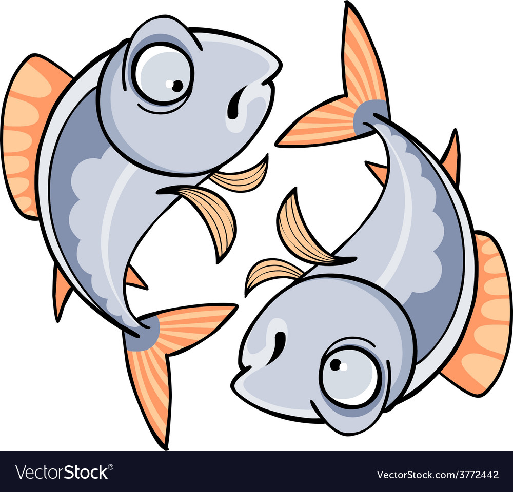 Two mirrored cartoon fish vector | Price: 1 Credit (USD $1)