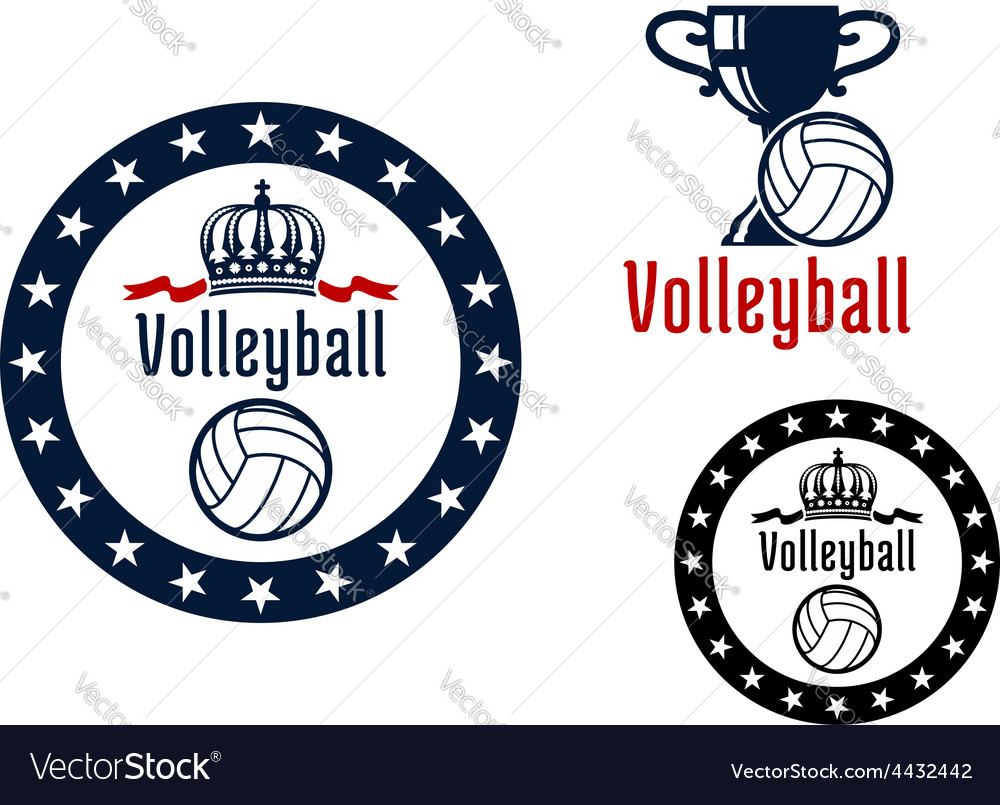 Volleyball sport game heraldic emblems vector | Price: 1 Credit (USD $1)