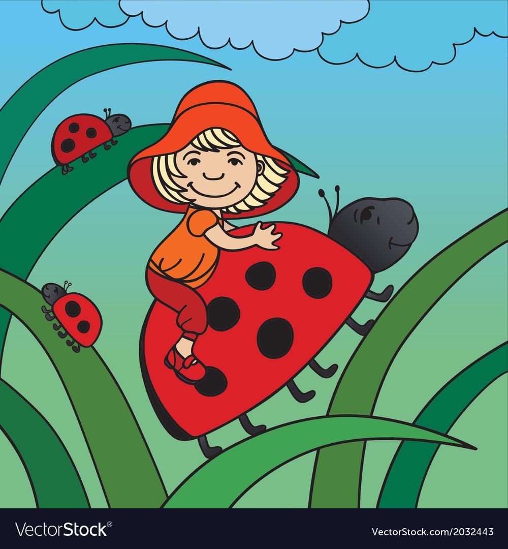 Children and ladybirds vector | Price: 1 Credit (USD $1)