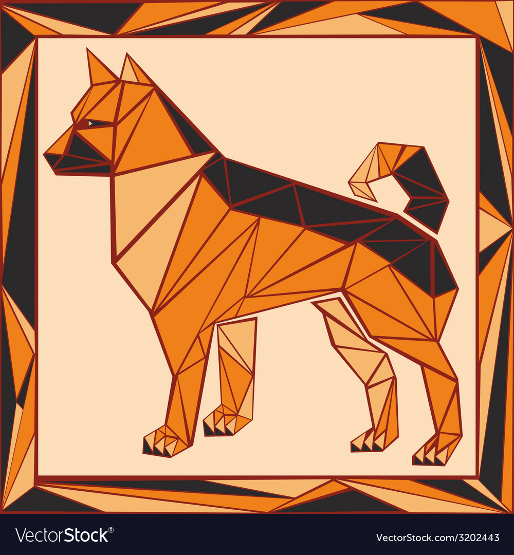 Chinese horoscope stylized stained glass dog vector | Price: 1 Credit (USD $1)
