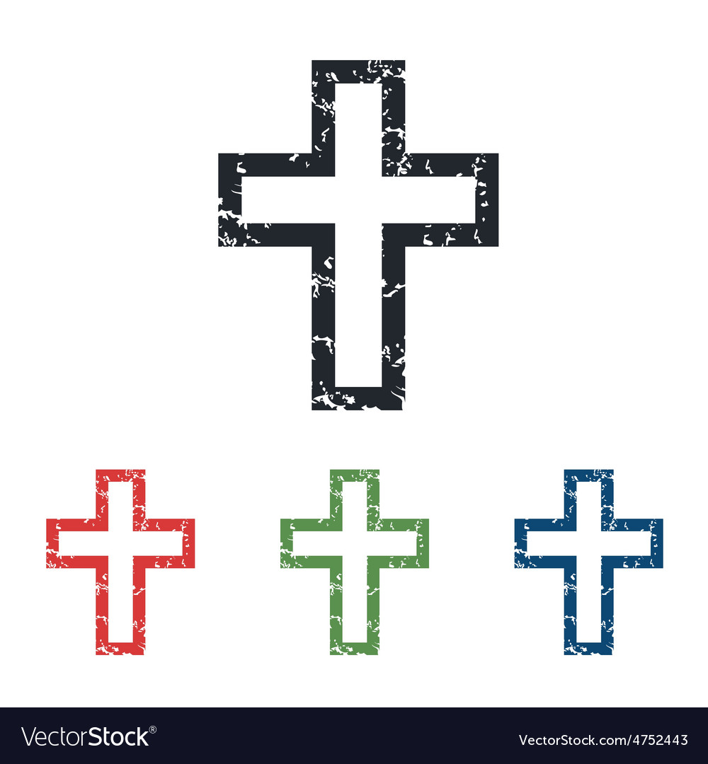 Christian cross grunge icon set vector | Price: 1 Credit (USD $1)