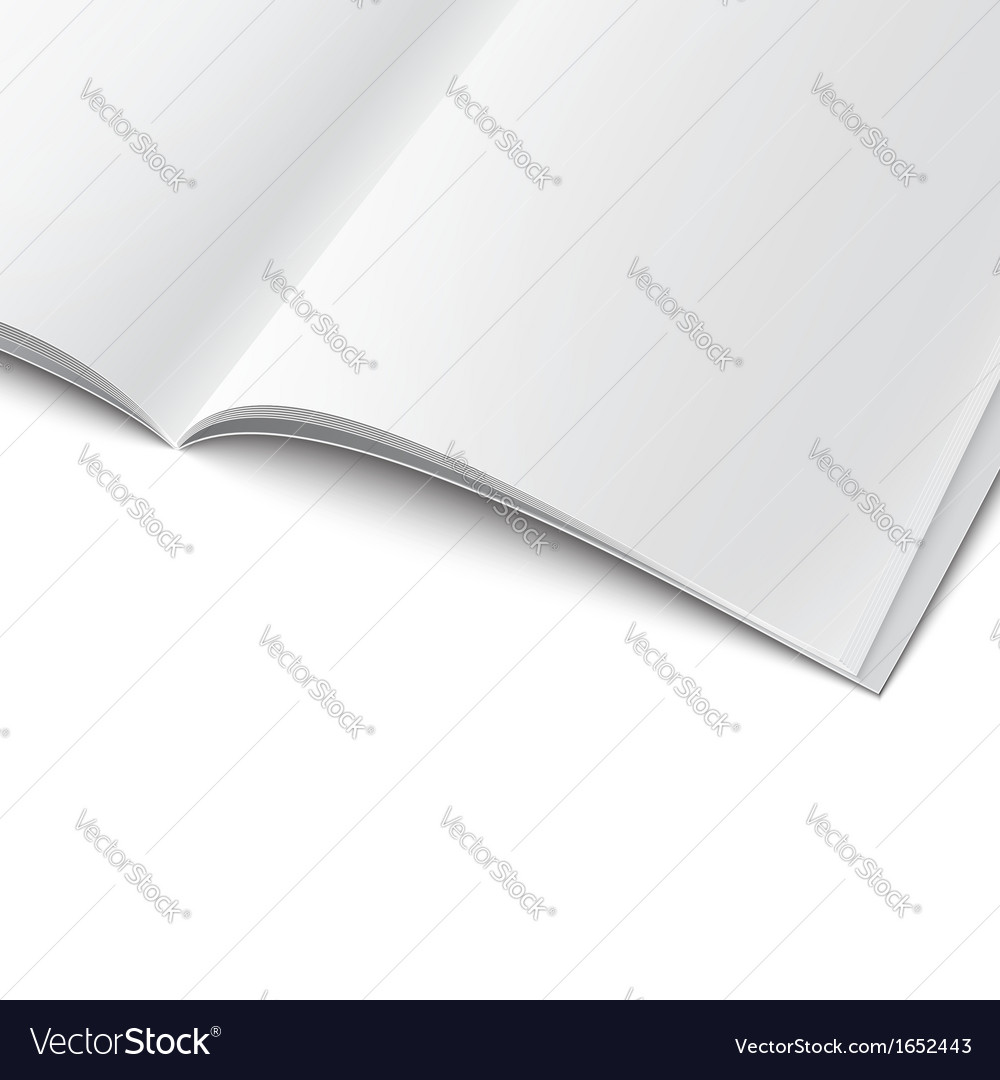 Closeup of blank opened magazine template vector