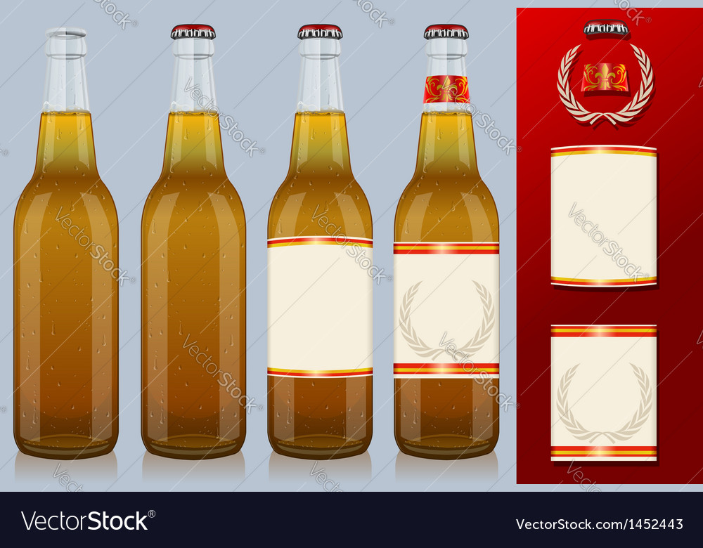 Four beer bottles with label vector | Price: 1 Credit (USD $1)