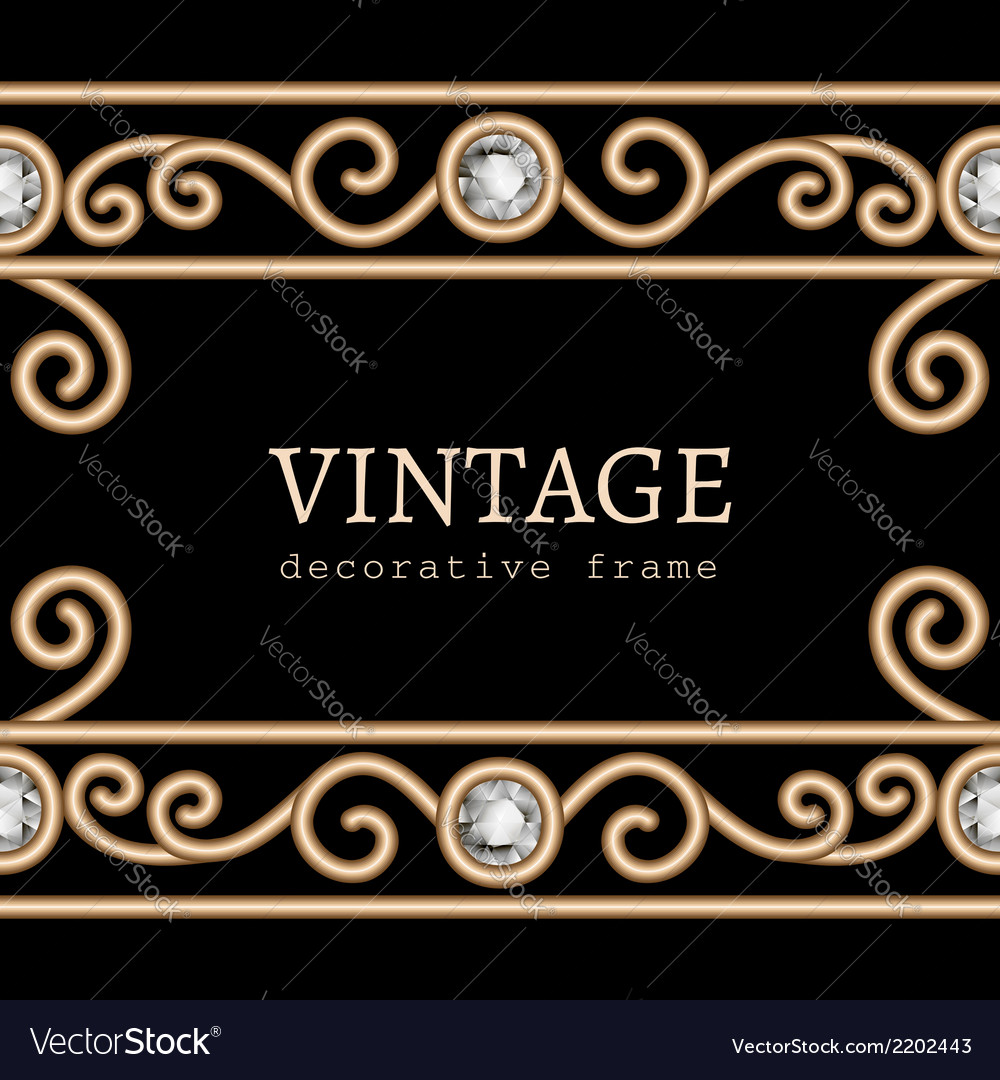 Gold border frame on black vector | Price: 1 Credit (USD $1)
