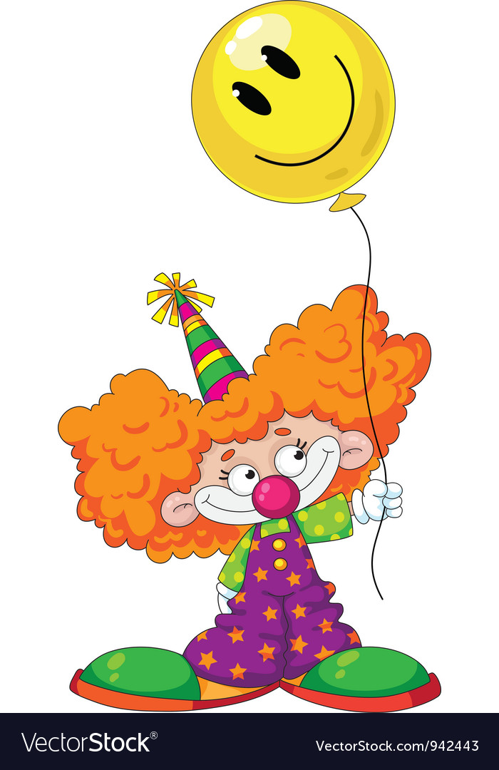 Kid clown with baloon vector | Price: 3 Credit (USD $3)