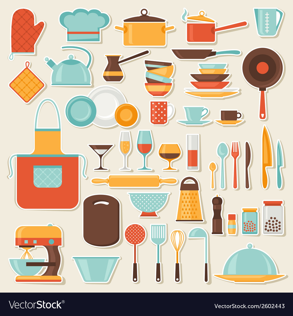 Kitchen and restaurant icon set of utensils vector | Price: 1 Credit (USD $1)