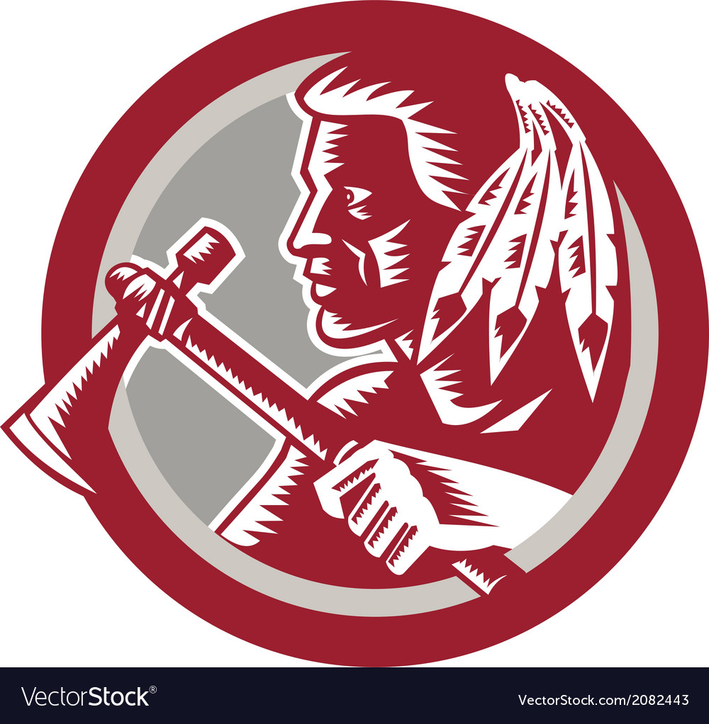 Native american tomahawk warrior circle vector | Price: 1 Credit (USD $1)
