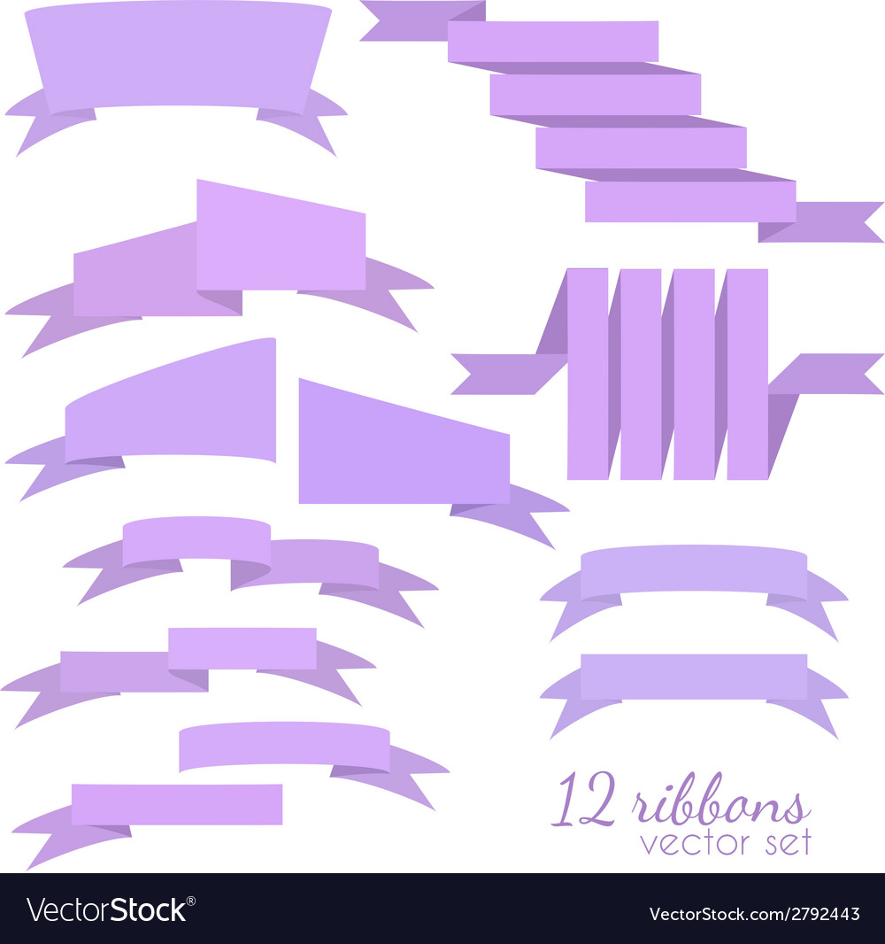 Set of 12 ribbons vector | Price: 1 Credit (USD $1)