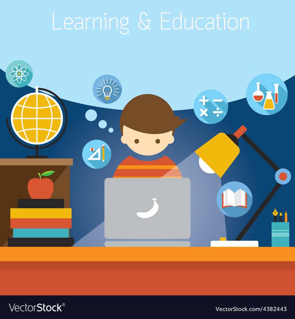 Student with laptop computer education icons vector | Price: 1 Credit (USD $1)