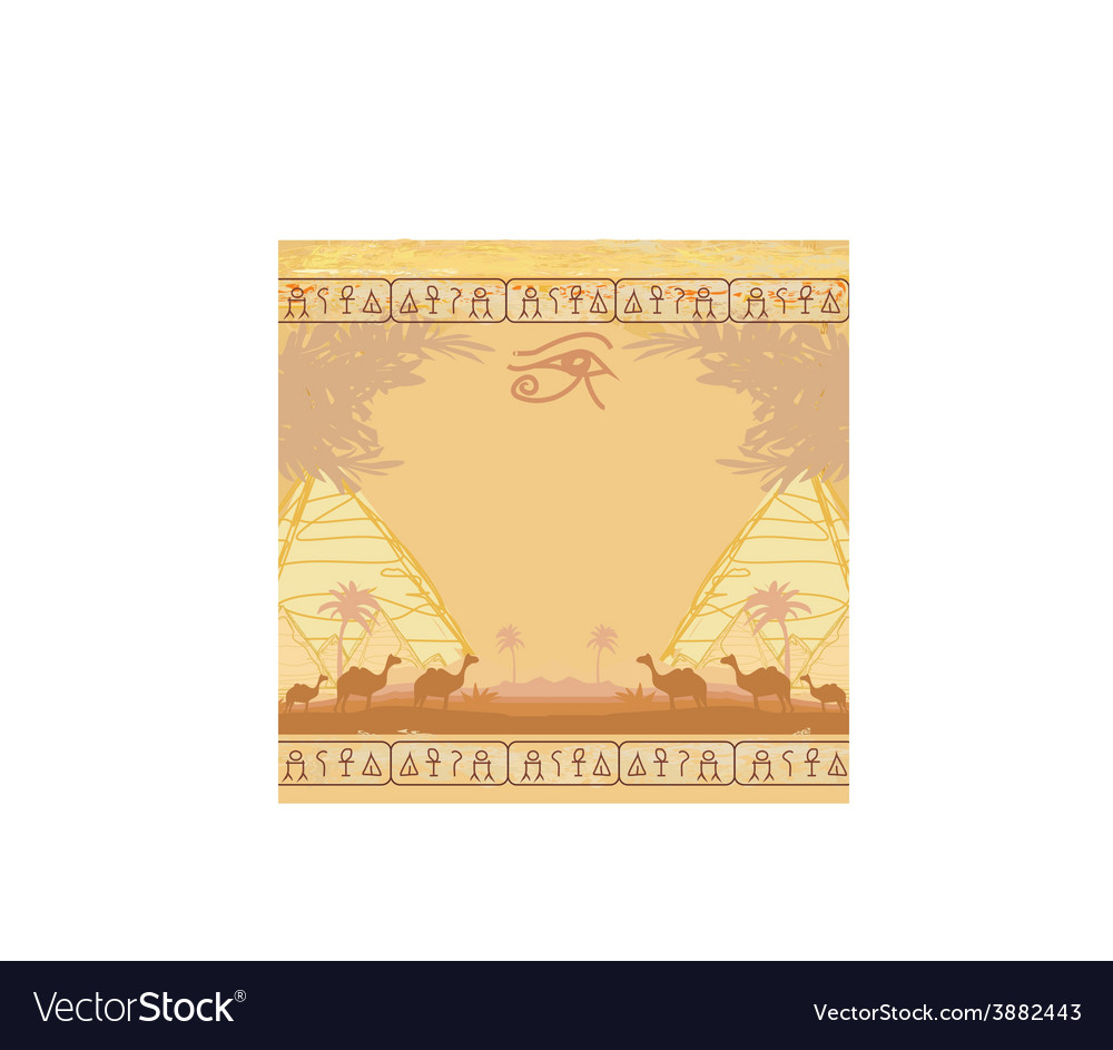 Traditional horus eye and camel caravan in wild vector | Price: 1 Credit (USD $1)