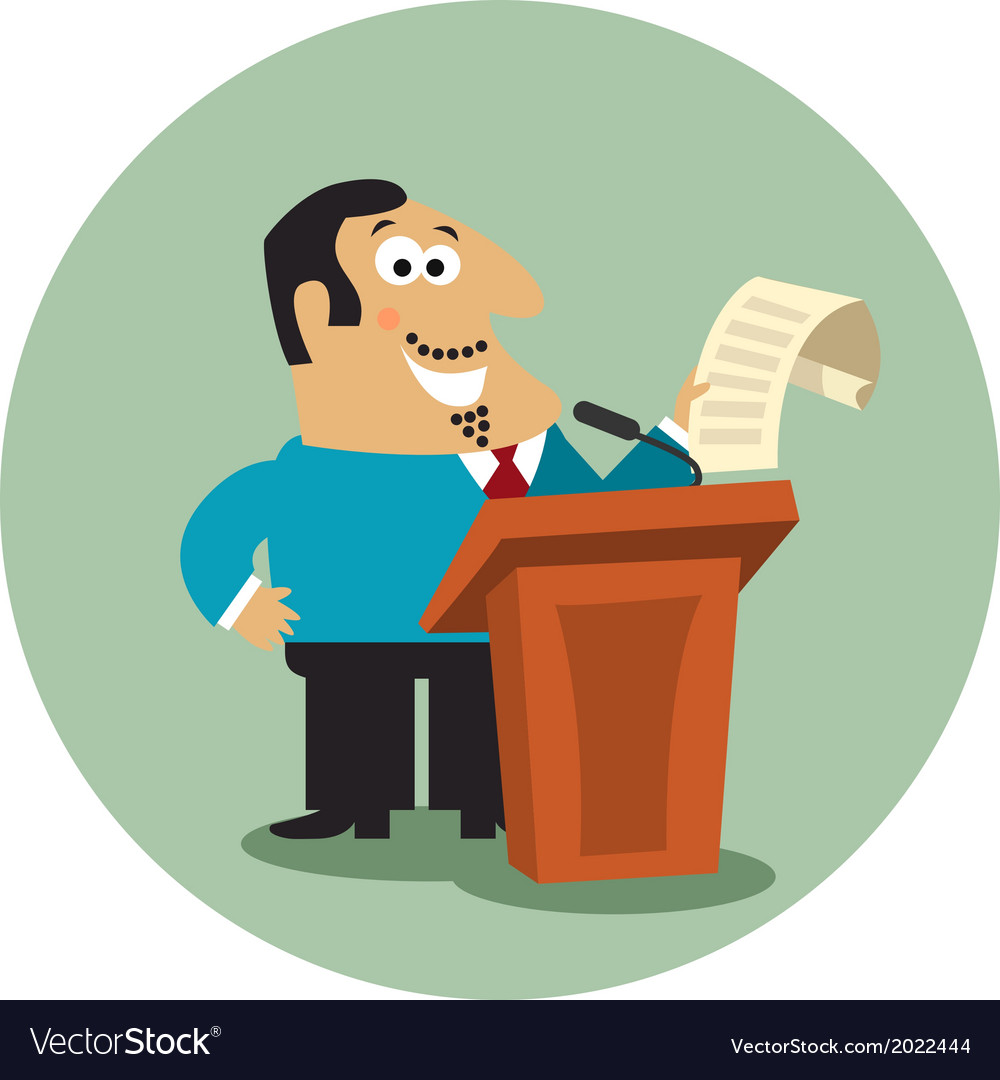 Business boss at tribune with microphone vector | Price: 1 Credit (USD $1)