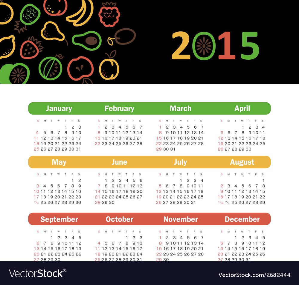 Calendar 2015 year with fruit icons vector | Price: 1 Credit (USD $1)