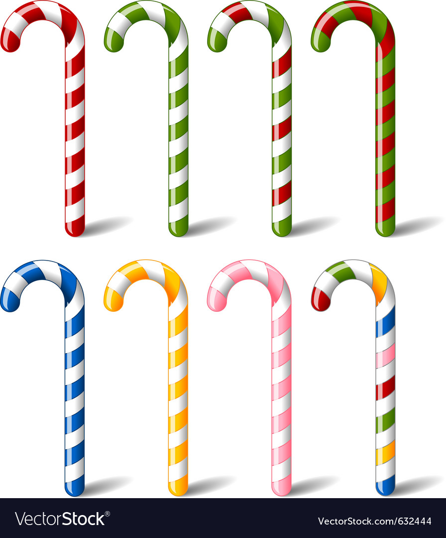 Colorful striped candy canes vector | Price: 1 Credit (USD $1)