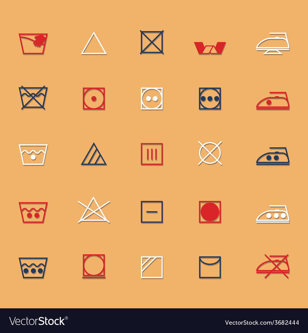 Fabric care sign and symbol icons with shadow vector | Price: 1 Credit (USD $1)