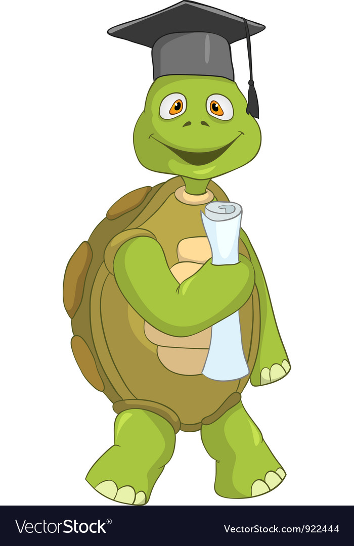 Funny turtle student vector | Price: 1 Credit (USD $1)