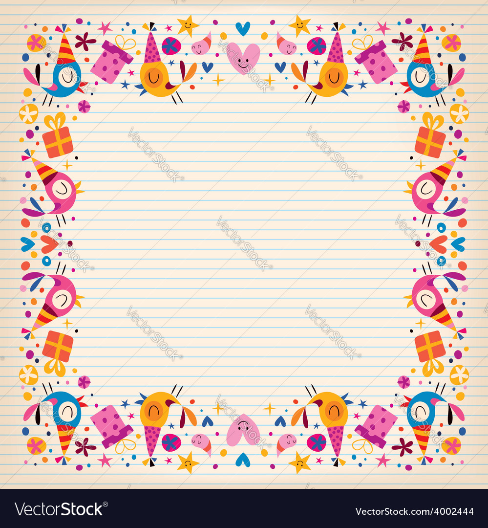 Happy birthday border lined paper card with space vector | Price: 1 Credit (USD $1)