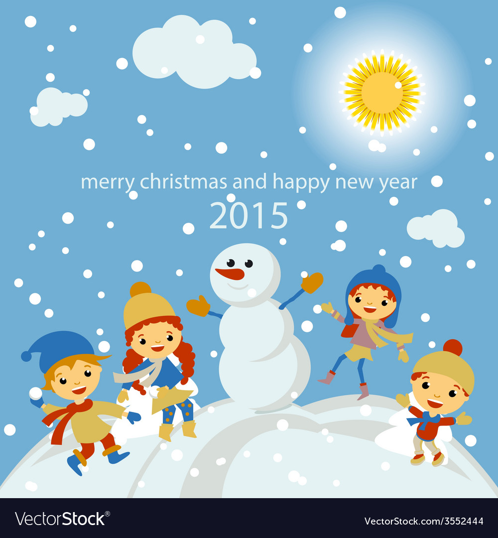 Merry christmas greeting card with winter vector | Price: 1 Credit (USD $1)
