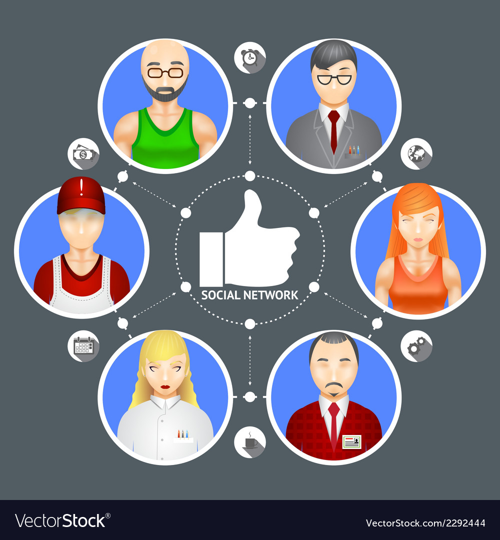 People in a social network vector | Price: 1 Credit (USD $1)